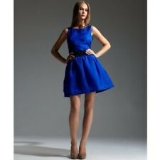 BCBG Max Azria Dress Blue Sapphire Textured Organza Fit Flare Party Dress Size M