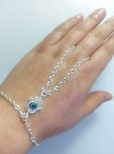 Silver Tone Hamsa Hand of Fatima Blue Evil Eye Charm Hand Harness Bracelet Ring