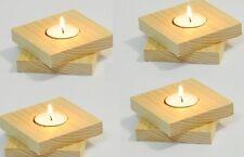 Wooden Candlestick Cube Tea Light Holders Decoupage Craft Plain twist - 4 each