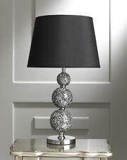 NUOVA Argento Contemporaneo SOLARA Crackled crytal Ball Lampada da tavolo-altezza 60 cm
