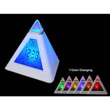 7 LED Color Pyramid Digital LCD Alarm Clock Thermometer