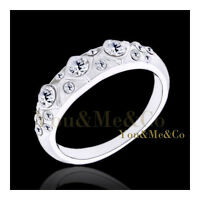 18k White Gold EP Round Cut Crystals Anniversary Ring