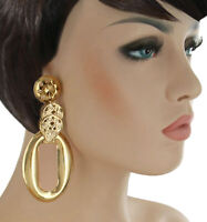 Extra Large Gold Tone Dangle Hoop Statement Pierced Earrings Lightweight 4 1/8""