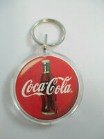 Coca-Cola Plastic Disc Double-Sided Keychain with Contour Bottle and Script Logo