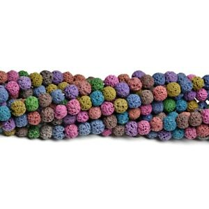 Mixed-Colour Lava Rock Beads Plain Round 6mm Dyed Strand Of 60+