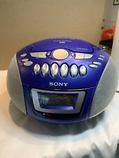 Sony CFD E75 CD Radio Cassette Tape Portable Boom Box Stereo BLUE - Battery Dmg
