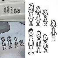 Black PET Family Member Car Sticker Decoration Vinyl Art Decal For Car Removable