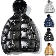 Herren Glänzend Daunen Jacke Steppjacke Schwarz Winterjacke Outdoor Mantel Coat
