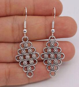 Pretty New Tibetan Silver Diamond Shape Carved Flower Hook Dangle Drop Earrings