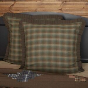 VHC Brands Rustic Euro Sham Brown Seneca Chambray Cotton Plaid Bedroom Decor