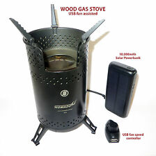 Wood Gas Stove & FREE 10,000mAh SOLAR POWER BANK Biomass Tlud Gasifier Camping