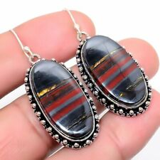 "Iron Tiger'S Eye Gemstone Handmade Ethnic Fashion Jewelry Earring 1.9"" Se7517"