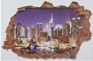 Large decorative wall sticker 3D New York City NYC Manhattan 90 x 60cm 35 x 23in