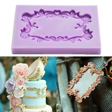 Vintage Mirror Frame Silicone Fondant Mould Cake Decor Icing Sugar Baking Mold