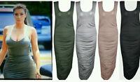 Womens Ladies Celeb Inspired Ruched Soft Touch Sleeveless Midi Maxi Dress UK8-14