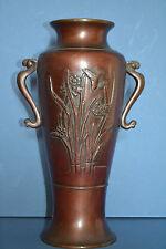 Antique early 20th century Japanese Bronze 2 Handled Vase Bird Decoration,c 1920