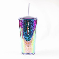 Starbucks 2019 Cold Cup Rainbow Foil Iridescent Tumbler Winter Holiday 16 oz