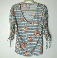 Como Blu Women's Top Size Small 3/4 Tie Sleeves Stripes Floral Gray White