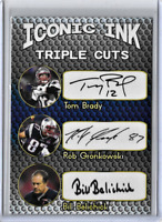 Tom Brady Rob Gronkowski Bill Belichick Iconic Ink Facsimile Autograph Card