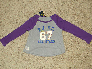 Ralph Lauren Girls Gray / Purple Long Sleeve Top - Size 4 - NWT