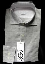 Enzo Mantovani Men's Shirt L Grey Long Sleeve large 70% Linen 30% Cotton