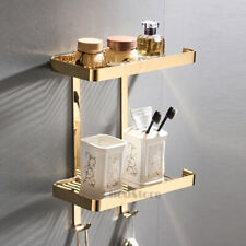 Luxury Gold Polished Bathroom Shower Caddy Corner Shampoo Shelf Storage Basket