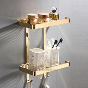 Luxury Gold Polished Bathroom Shower Caddy Corner Shampoo Shelf Storage Basket