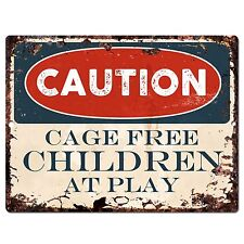PP0628 CAUTION Cage Free Children at Play Plate Chic Sign Home Room Store Decor