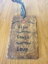 Resin Live Laugh Love Primitive Rustic Sign Shelf Sitter or Wall Plaque 5x3