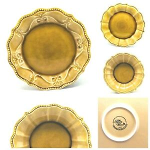 """Pioneer Woman 'PAIGE"""" Amber Dinnerware Collection (Crackle Glaze Scalloped Edge)"""