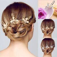 Wedding Bridal Hair Comb Clip Crystal Rhinestone Flower Faux Pearl Hairpin