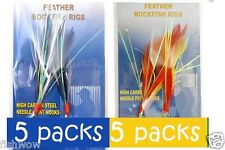 10packs Size 3/0 Fishing Rockfish Rigs 2 Hooks Feather Rock Cod Yellow/Red+BlueW