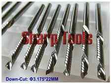 Lot 10pcs down cut single flute sprial left-handed CNC router bits 3.175mm 22mm