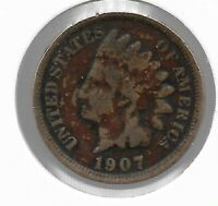 Rare Old Antique US 1907 Indian Head Penny Cent Collectible Collection Coin T53