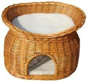Bed Wicker Honey Coloured Two Tier Cat Basket + Cushions