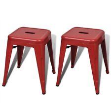 vidaXL 2x Kitchen Bar Stool 46cm Steel Red Stackable Dining Room Cafe Bistro