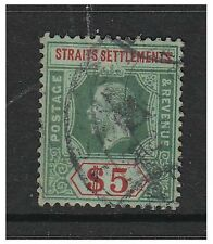 More details for malaya straits settlements - 1913, $5 green & red on white back - g/u - sg 212