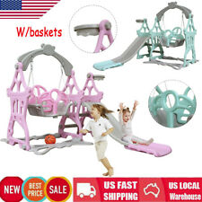 Toddler Baby Play Slide and Swing Set Basketball Hoop Indoor Outdoor Playground
