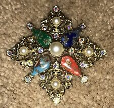 Vintage Sarah Coventry Signed Multi Colored Cabochon & Rhinestone Pendant Brooch