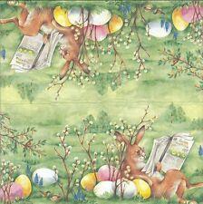 3 Serviettes en papier Cocktail Pâques Lapin Journal - Paper Napkins Easter