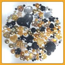 Black And Gold Cabochons Flatbacks Gems And Pearls For Decoden Crafts Cards