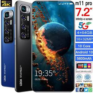 """Unlocked M11 Pro 7.2"""" Android 10.0 3G 4G Mobile Smart phone 4+64GB Smartphone"""