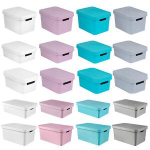 Aufbewahrungsbox mit Deckel Ordnungsbox Grün Türkis 20 L Beton Optik CURVER