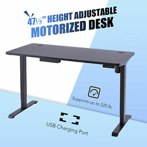 Adjustable Height Computer Office Desk Sitting & Standing Home Table W/USB 120CM