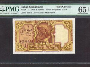 Italian Somaliland/Italy:P-11s,1 Somali,1950 * Specimen * PMG Gem UNC 65 EPQ *
