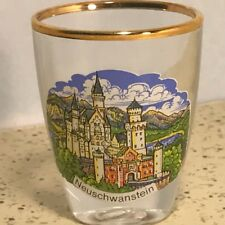 VINTAGE GERMANY SHOTGLASS BARWARE SHOT GLASS GOLD TRIM NEUSCHWANSTEIN CASTLE SKY