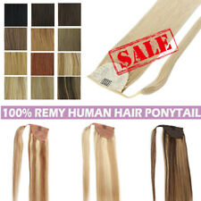 Thick Real Human Hair Ponytail Extensions Wrap Around Clip in on Hair Piece 100g