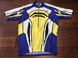 Vintage Castelli Mens Blue Yellow Black White 1/2 Zipper Cycling Jersey Sz XL