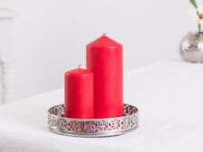 Plato para velas Bandeja Lennox 15cm metal/Espejo de cristal, Plata Ornamento
