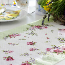 Table Runner - MARIA ADELLE - Printed Tissue Pink Roses Flowers Green Tableware